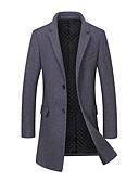 cheap Men's Jackets & Coats-Men's Long Wool Coat - Solid Colored