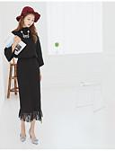 זול חולצה-מבוגרים מידה אחת שחור / חאקי צווארון עגול סתיו / חורף פוליאסטר, סוודר ארוך שרוול ארוך אחיד לבוש יומיומי בגדי ריקוד נשים / ניטים