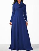 baratos Vestidos Plus Size-Mulheres Bainha Vestido Sólido Gola Alta Longo