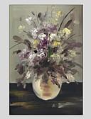 tanie Sukienki dla dziewczynek-Hang-Malowane obraz olejny Ręcznie malowane - Martwa natura Nowoczesny Brezentowy / Rozciągnięte płótno