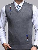 billige Herregensere og -cardigans-Herre Grunnleggende Ermeløs Vest - Geometrisk Rund hals