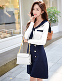 cheap Women's Skirts-Women's Daily / Going out A Line Dress - Solid Colored / Color Block High Waist Shirt Collar Spring Cotton Navy Blue M L XL