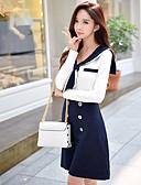 baratos Vestidos de Mulher-Mulheres Evasê Vestido Sólido Estampa Colorida Colarinho de Camisa Cintura Alta Acima do Joelho