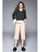 cheap Women's Blouses-Women's Going out Casual Long Sleeve Butterfly Sleeves Pullover - Solid Colored, Slim V Neck / Fall / Winter