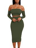 tanie Sukienki-Damskie Kij Flare rękawem Bodycon Sukienka - Solidne kolory, Odkryte plecy / Z wycięciem Z odsłoniętymi ramionami Do kolan / Seksowny / Rurki