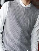 tanie Męskie swetry i swetry rozpinane-Męskie Podstawowy Okrągły dekolt Kamizelka Jendolity kolor Bez rękawów
