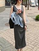 baratos Blusas para Meninas-Mulheres Praia Camiseta Vestido Sólido Com Alças Longo