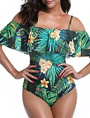 cheap One-piece swimsuits-Women's Boho Strap / Off Shoulder Green White Bandeau Briefs One-piece Swimwear - Floral Tropical Leaf Ruffle / Print L XL XXL / Sexy