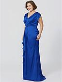 Χαμηλού Κόστους Βραδινά Φορέματα-Ίσια Γραμμή Λαιμόκοψη V Μακρύ Σιφόν πάνω από σατέν Φόρεμα Μητέρας της Νύφης με Πλισέ Χιαστί με LAN TING BRIDE®