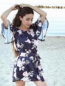 abordables Vestidos casuales-Mujer Noche / Discoteca Boho Manga de la llamarada Vaina Vestido - Espalda al Aire, Floral Asimétrico Escote Barco / Hombros Caídos