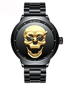 cheap Kids' Watches-Men's Wrist Watch Japanese Chronograph / Water Resistant / Water Proof / Casual Watch Stainless Steel Band Luxury / Skull / Fashion Black / Two Years / Sony 377
