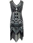 cheap Women's Pants-The Great Gatsby Vintage 1920s Costume Women's Party Costume Flapper Dress Cocktail Dress Ball Gown Black / Red / Golden Vintage Cosplay Polyester Sequin Sleeveless Cold Shoulder Knee Length