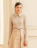 abordables Faldas-Mujer Vintage Camiseta, Cuello Camisero Un Color