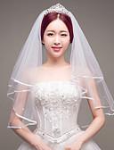 preiswerte Brautmutter Kleider-Zweischichtig Brautkleidung Künstliche Perle Hochzeit Hochzeitsschleier Fingerspitzenlange Schleier Mit Band-Bindung Tüll