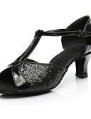 baratos Vestidos Plus Size-Mulheres Sapatos de Dança Latina Paetês Esporte & lazer / Salto Salto Baixo Personalizável Sapatos de Dança Preto