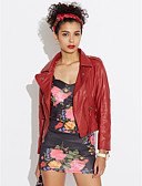cheap Women's Leather Jackets-Women's Going out Street chic Punk & Gothic Plus Size Leather Jacket-Solid Colored / Spring / Fall