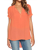 cheap Women's Pants-Women's Holiday Street chic Blouse - Solid Colored V Neck