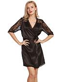cheap Robes & Sleepwear-Women's V Neck Satin & Silk Pajamas Solid Colored Jacquard