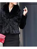 olcso Női szőrme és műszőrme kabátok-Női Casual / hétköznapi Egyszerű Ősz / Tél Rövid Szőrmekabát, Egyszínű V-alakú Hosszú ujj Műszőrme Fur Trim Fekete M / L / XL