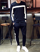 cheap Men's Hoodies & Sweatshirts-Men's Long Sleeves Loose Set - Solid Colored Striped Round Neck