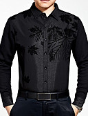 cheap Men's Tees & Tank Tops-Men's Street chic Slim Shirt - Plants Print / Long Sleeve