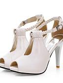 halpa Morsiusneitojen mekot-Naisten Kengät Synteettinen mikrokuitu PU Kevät / Kesä Comfort / Uutuus Sandaalit Korkea korko Avokärkiset korkokengät Soljilla Valkoinen