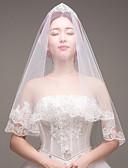 baratos Vestidos de Casamento-Uma Camada Borda com aplicação de Renda / Casamento Véus de Noiva Véu Ponta dos Dedos com Bordado / Renda Renda / Tule / Véu Caído