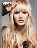 お買い得  マキシドレス-人間の毛のキャップレスウィッグ 人毛 ウェーブ ストレート バング付き Bangsと ナチュラルヘアライン ロング 機械製 かつら 女性用