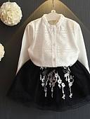 tanie Zestawy ubrań dla dziewczynek-Brzdąc Dla dziewczynek Casual Codzienny Solidne kolory Nadruk Długi rękaw Regularny Bawełna / Poliester Komplet odzieży Biały 100