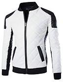 hesapli Erkek Ceketleri ve Kabanları-Erkek Dışarı Çıkma Vintage Sonbahar / Kış Normal Kurtki skórzane, Zıt Renkli Dik Yaka Uzun Kollu Diğer Beyaz / Siyah