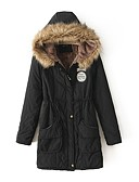 cheap Women's Downs & Parkas-Women's Going out Work Simple Winter Fall Long Coat, Solid Hooded Polyester