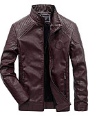 cheap Men's Jackets & Coats-Men's Daily / Work / Weekend Military Fall / Winter Regular Leather Jacket, Solid Colored Stand Long Sleeve PU / Rayon Brown / Black / Wine 4XL / XXXXXL / XXXXXXL / Slim