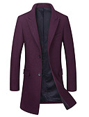 cheap Men's Jackets & Coats-Men's Long Wool Coat - Solid Colored Shirt Collar / Long Sleeve