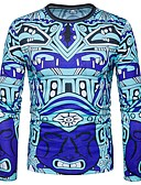 baratos Camisetas & Regatas Masculinas-Homens Camiseta Boho Estampado Decote Redondo Delgado