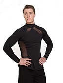 cheap Latin Dancewear-Latin Dance Tops Men's Performance Tulle Ruffles Long Sleeves Natural Top
