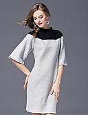 preiswerte Damen Pelzmantel-Damen Arbeit Retro Bodycon Kleid Einfarbig Übers Knie