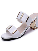cheap Women's Blouses-Women's Shoes PU(Polyurethane) Summer Comfort Sandals Chunky Heel Open Toe Plaid White / Black