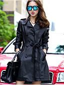 رخيصةأون فساتين قياس كبير-للمرأة جواكيت جلد قديم سادة, قبعة القميص المتضخم / خريف / شتاء