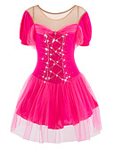 cheap Ice Skating Dresses , Pants & Jackets-Figure Skating Dress Women's Girls' Ice Skating Dress Vivid Pink Spandex Rhinestone Tulle High Elasticity Performance Skating Wear
