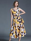 preiswerte Damen Kleider-Damen Retro / Boho / Street Schick Baumwolle Swing Kleid - Druck Midi V-Ausschnitt