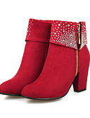 abordables Chemises Femme-Femme Bottes Talon Bottier Bout pointu Strass Daim Bottine / Demi Botte Confort / Nouveauté / Botillons Automne / Hiver Noir / Rouge / Bleu / Mariage / Soirée & Evénement / EU39