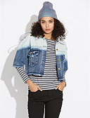cheap Women's Denim Jackets-Women's Going out Denim Jacket - Solid Colored / Color Block Shirt Collar / Winter