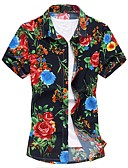 olcso Férfi pólók és pulóverek-Kínai Vékony Férfi Pamut Ing - Virágos / Rövid ujjú