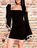 tanie Sukienki-Damskie Wyjściowe Flare rękawem Pochwa Sukienka - Wielokolorowa Łódeczka Asymetryczna Czarny / Jesień / Obcisłe