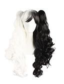 halpa Vatsatanssiasut-Synteettiset peruukit Laineita Poninhännällä Synteettiset hiukset Musta Peruukki Naisten Pitkä Suojuksettomat Musta / Valkoinen