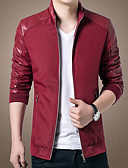 cheap Men's Jackets & Coats-Men's Slim Jacket - Solid Colored, Patchwork Stand