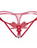 halpa Seksikkäät naisten vaatteet-Naisten Ohut Stringit, Kirjottu - Erittäin elastinen Nylon Spandex 1kpl Valkoinen Musta Rubiini