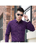זול חולצות לגברים-גיאומטרי צווארון קלאסי חולצה - בגדי ריקוד גברים דפוס