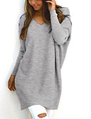 cheap Women's Sweaters-Women's Going out Solid Colored Long Sleeve Regular Pullover, V Neck Fall / Winter Black / Pink / Gray M / L / XL