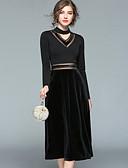 זול שמלות נשים-צווארון V מידי רשת, קולור בלוק - שמלה גזרת A נדן סווינג מתוחכם סגנון רחוב בגדי ריקוד נשים